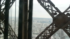 View of Paris from moving Eiffel Tower Lift Stock Footage