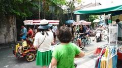 motorbike, foot, and bicycle traffic - bicycle heritage artwork - stock footage