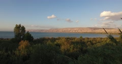 SEA OF GALILEE, ISRAEL (4K) - Beautiful aerial drone shot at sunset Stock Footage