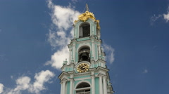 Clock on the tower timelapse hyperlapse in Sergiev Posad, Russia Stock Footage
