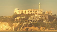 Heat distorted establishing shot of Alcatraz. - stock footage