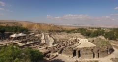 BEIT SHE'AN, ISRAEL (4K) - aerial drone over Roman city, amphitheater & cardo Stock Footage