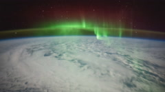 February: ISS view of Earth with Aurora Borealis over the Southern Sea, Tim - stock footage