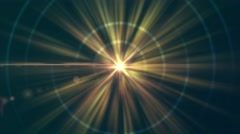 Golden Orange & Yellow Energy Beams with Lens Flare Stock Footage