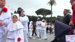 Carnival street parade in italy: celebration, costume party, masquerade Stock Footage