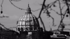 Black and white view of saint peter's dome in Rome Stock Footage