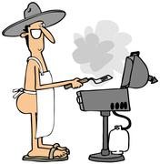 Grilling in the buff - stock illustration