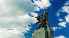 Soviet monument in Moscow 'The worker and the collective farmer'. 4K time lapse Stock Footage