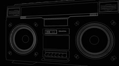 Rotating cassette deck (boombox) - stock footage