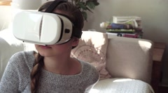 Young woman with VR glasses Stock Footage
