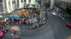 Traffic near Erawan Hindu Shrine in Bangkok, Thailand. Stock Footage