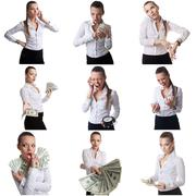 Set of business woman posing with emotional face Stock Photos