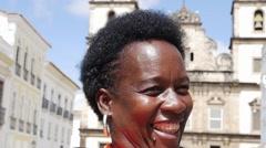 Brazilian woman from Bahia state at Pelourinho, Brazil Stock Footage