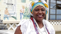 Traditional Brazilian woman - Baiana - in Pelourinho, Salvador Stock Footage