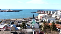 ICELAND, Hafnarfjordur, pan over center and neighbourhood Stock Footage