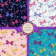 Set of seamless patterns with dragonfly Stock Illustration