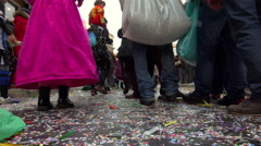 Carnival parade in Italy: people wearing a costume walking in the street Stock Footage