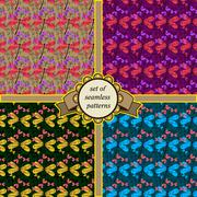 set of seamless patterns with dragonfly - stock illustration
