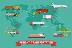 Freight Transport and Packaging Infographics - stock illustration