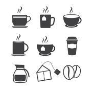 Coffee and Tea icons Stock Illustration
