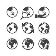 Globe icons set. Elements of this image furnished by NASA Stock Illustration