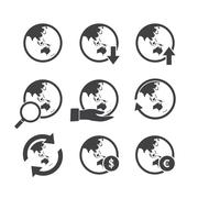 Asia Oceania world map icons set. Stock Illustration