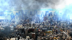 Lightning strikes light up clouds over New York city Stock Footage