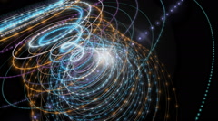 Futuristic animation with particle stripe object and light, loop HD 1080p - stock footage