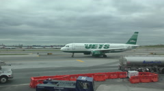 Jetblue with markings of NY Jets Stock Footage