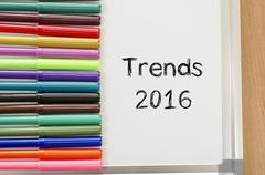 Trends 2016 text concept - stock photo
