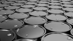 3D illustration of Black Metal Oil Barrels Background. - stock illustration