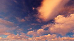 ( CGI ) Fantasy - Dusk Sunset Clouds - Time Lapse Seamless Loop - stock footage