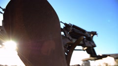 Old rustic agriculture machine. Camera dolly. Slider. Smooth motion. Stock Footage