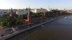 Flight over Moscow Kremlin near Red square. City center, downtown, river. Day ro Stock Footage