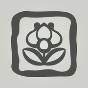 Vector symbol of flower. Floral icon in frame Stock Illustration