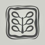 Vector symbol of flower. Floral icon in frame Stock Illustration