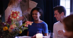 4K Attractive young couple looking at menus in elegant restaurant Stock Footage