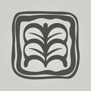 Vector symbol of flower. Floral icon in frame - stock illustration