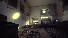 Scary interior industrial. Dolly camera. Smooth motion. - stock footage