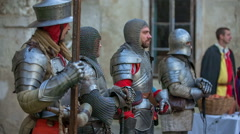 Four knights in armour - stock footage