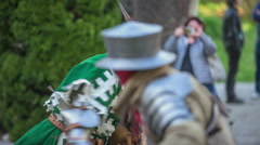 Two knights are fighting with swords and shields Stock Footage