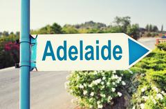 Adelaide, Australia Road Sign - stock photo