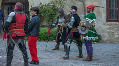 Knights in different costumes Stock Footage