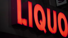 Liquor store - night - establishing shot - pan Stock Footage
