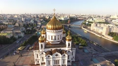 Unique aerial view of Cathedral of Christ the Savior in Moscow city. Russia. Hel Stock Footage