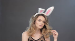 Girl weared bunny ears Stock Footage