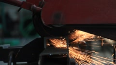 closed up metal saw cutting a steel - stock footage
