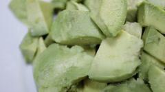 Sliced avocado for brunch - closeup shot Stock Footage