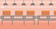 Background of conveyor belt with cardboard boxes Stock Illustration