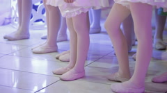 Feet of young girls and boys dancing slippers Stock Footage